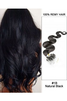 "14"" #1B Natural Black Body Wave Micro Loop 100% Remy Hair Human Hair Extensions-100 strands, 1g/strand"