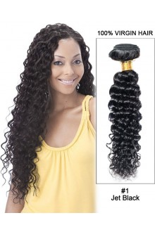 "20"" Jet Black Curly Wave Indian Virgin Hair 100% Remy Hair Weave Weft Human Hair Extensions"
