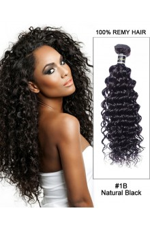 "16"" #1B Natural Black Deep Wave Weave 100% Remy Hair Human Hair Extensions"
