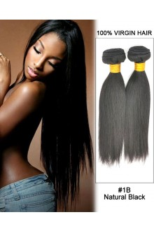 "14"" Straight Brazilian Virgin Remy Hair Weave Weft Human Hair Extension-#1B Natural Black"