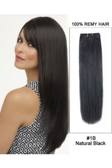 """14""""#1B Natural Black Straight Weave 100% Remy Hair Weft Hair Extensions"""