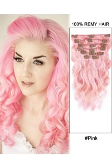 "16"" 7pcs #Pink Body Wave 100% Remy Hair Clip In Human Hair Extensions"