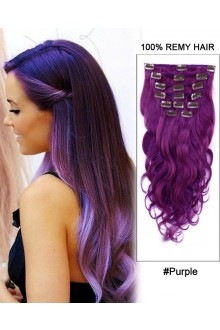 "16""  7pcs Purple Body Wave 100% Remy Hair Clip In Hair Extensions"