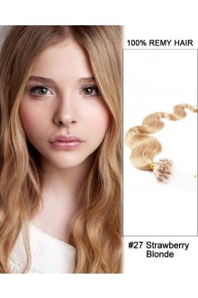"14"" #27 Strawberry Blonde Body Wave Micro Loop 100% Remy Hair Human Hair Extensions-100 strands, 1g/strand"