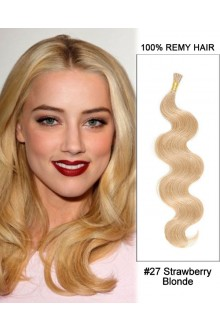 "14"" #27 Strawberry Blonde Body Wave Stick Tip I Tip 100% Remy Hair Keratin Hair Extensions-50 strands, 1g/strand"