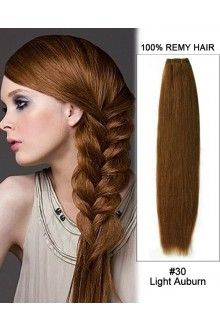"18"" #30 Light Auburn Straight Weave 100% Remy Hair Weft Human Hair Extensions"
