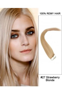 "14"" #27 Srawberry Blonde Straight 100% Remy Hair Tape In Hair Extensions-20 pcs"
