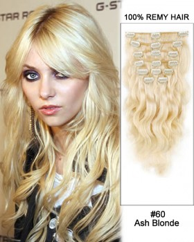 "16"" 7pcs #60 Ash Blonde Body Wave 100% Remy Hair Clip In Human Hair Extensions"
