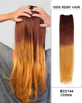 "18"" #33/144 Ombre  Straight Weave Remy Hair Weft Human Hair Extensions"