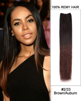 """16"""" #2/33 Brown/Auburn Ombre Straight Weave 100% Remy Hair Weft  Hair Extensions"""