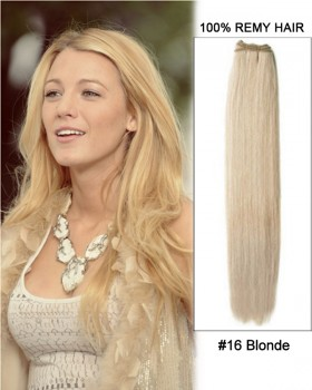 "20"" #16 Blonde Straight Weave Remy Human Hair Extensions"