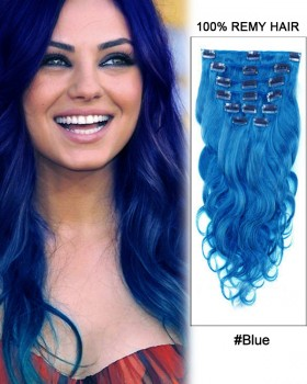 "16""  7pcs Blue Body Wave 100% Remy Hair Clip In Hair Extensions"