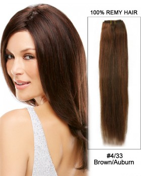 "16"" #4/33 Brown/Auburn Straight Weave 100% Remy Hair Weft  Human Hair Extensions"