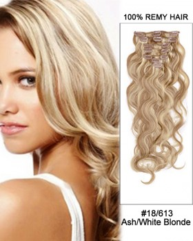 "14"" 7pcs #18/613 Ash White Blonde Body Wave 100% Remy Hair Clip In Human Hair Extensions"