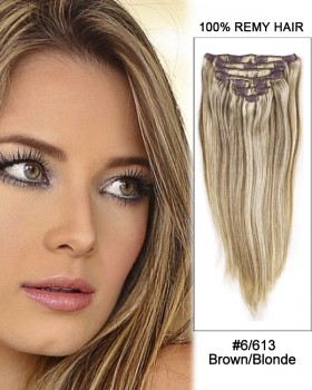 """26"""" 9pcs Straight 100% Remy Hair Clip in Extensions #6/613 Brown/Blonde"""