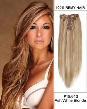 """14"""" 7pcs #18/613 Ash White Blonde Straight 100% Remy Hair Clip In Human Hair Extensions"""