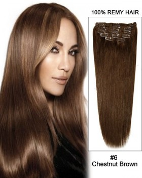 """16"""" 11pcs #6 Chestnut Brown Straight Clip in Remy Human Hair Extensions"""