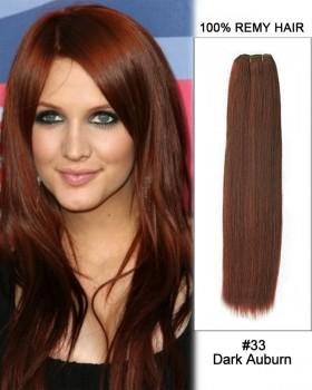 "18"" #33 Dark Auburn Straight Weave 100% Remy Hair Weft Human Hair Extension"