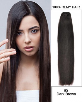 "16"" Silky Straight Brazilian Remy Hair Weave Weft Human Hair Extension-#2 Dark Brown"