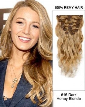 "14"" 7pcs #16 Dark Honey Blonde Body Wave 100% Remy Hair Clip In Human Hair Extensions"