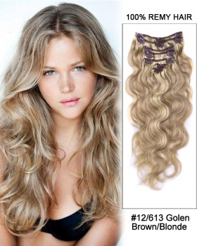 """16"""" 7pcs #12/613 Brown/Blonde Body Wave Remy Hair Clip in Hair Extensions"""