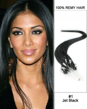 "14"" #1 Jet Black Straight Micro Loop 100% Remy Hair Human Hair Extensions-50 strands, 1g/strand"