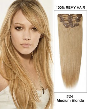 "16"" 11pcs #24 Medium Blonde Straight Clip in Remy Human Hair Extensions"
