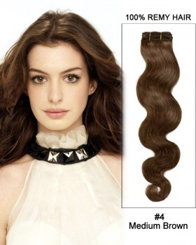 """16"""" #4 Medium Brown Straight Weave 100% Remy Hair Weft Human Hair Extensions"""