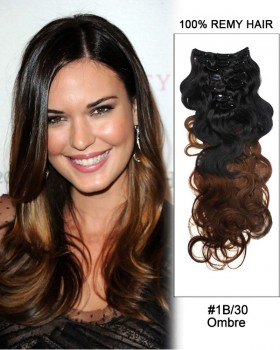 "16""  7pcs #1B/30 Black Auburn Ombre Body Wave Remy Hair Clip In Hair Extensions"