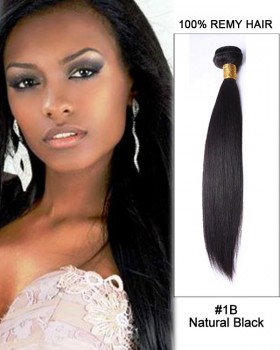 "16"" #1B Natural Black Straight Weave 100% Remy Hair Human Hair Extensions"