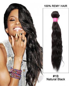 "18"" Water Wave Brazilian Remy Hair Weave Weft Human Hair Extensions-#1B Natural Black"