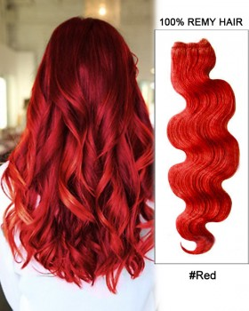 """18"""" #Red Body Wave Weave Remy Hair Weft Human Hair Extensions"""