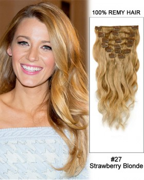 """20"""" 7pcs #27 Strawberry Blonde Body Wave 100% Remy Hair Clip in Hair Extensions"""